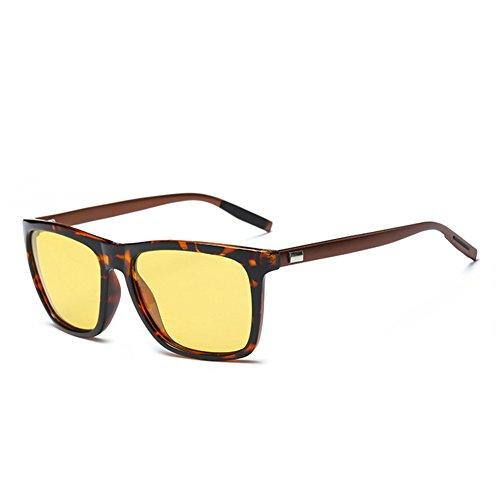 ef4eea708be ... NIEEPA Square Polarized Sunglasses Aluminum Magnesium Temple Retro  Driving Sun Glasses Night Vision Lens Leopard