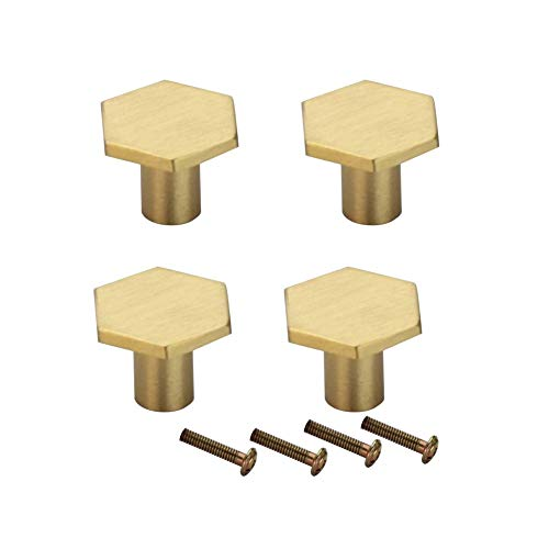 RZDEAL 4Pcs Solid Brass Door Knobs Simple Hexagon Pull Decorate Cabinet Drawer Door Handle Pull]()