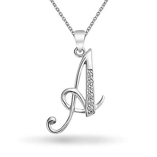 Abc Cubic Zirconia Pave CZ Cursive Script Letter Alphabet Initial A Pendant Necklace For Women Sterling Silver