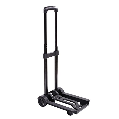 Elever Black Portable Folding Push Truck Trolley Luggage Flatbed Dolly Cart Hand Collapsible Truck(US Stock) ()