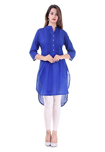 Chichi Indian Women's Cotton Kurta Kurti 3/4 Sleeve Plain Large Size Straight Blue Top