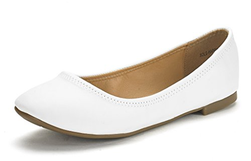 DREAM PAIRS Women's Sole-Happy White Ballerina Walking Flats Shoes - 11 M US