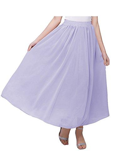 Kileyi Women's Long A Line High Elastic Waist Swing Chiffon Pleated Midi Skirt Lavender M A-line Elastic Waist Skirt