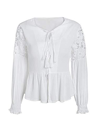 Lunghe Prospettiva Bianca Button Grazioso neck V Allacciato Bianco Shirts Maniche Bluse Leggero Stlie Estivi Camicia Donna Blouse Accogliente Mare A Eleganti Camicetta Cucitura Primaverile 6zgU7qz