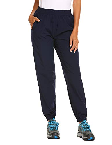 Women Hiking Pants Sweats Pants Outdoor Quick Drying Cargo Pants Lightweight Pull-On Pant Navy Blue