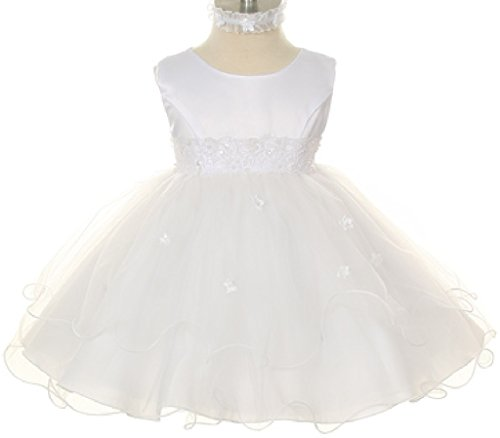 Double Layer Tulle Embroidery Baby Little Flower Girls Communion Dresses (19K8D) White S (Jeweled Tulle Baby Dress)