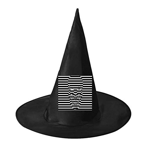 Black and White Striped Bones Unisex Halloween Witch Role Playing Wizard Hat for Costume Accessory