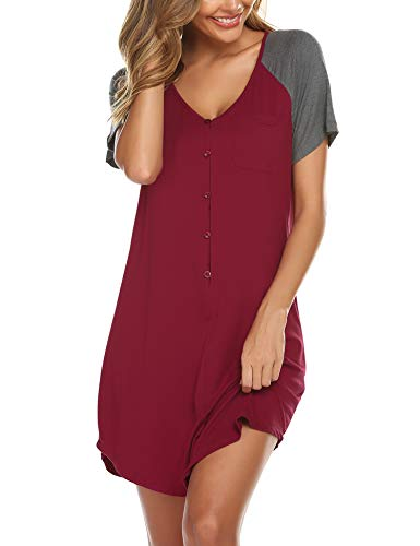 Ekouaer Womens Sleep Chemise Dress Night Shirts Short Sleeve Nightgown for Women Wine Red,Large