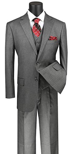 (VINCI Men's Pinstripe 2 Button Single Breasted Classic Fit Suit with Vest V2RS-7-MediumGray-44R)