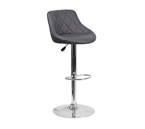 - Flash Furniture Bucket Seat Adjustable Height Barstool Gray
