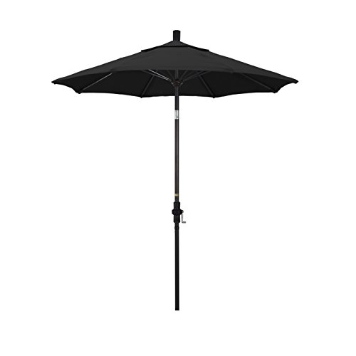 7.5' Crank (California Umbrella 7.5' Round Aluminum Pole Fiberglass Rib Market Umbrella, Crank Lift, Collar Tilt, Bronze Pole, Black Olefin)