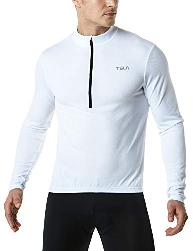 TSLA Men's Cycling Triathlon Jersey Bike Breathable Reflective Quick Dry Long Sleeve Biking Shirt, Cycle Long Sleeve(mct21) - White, Small