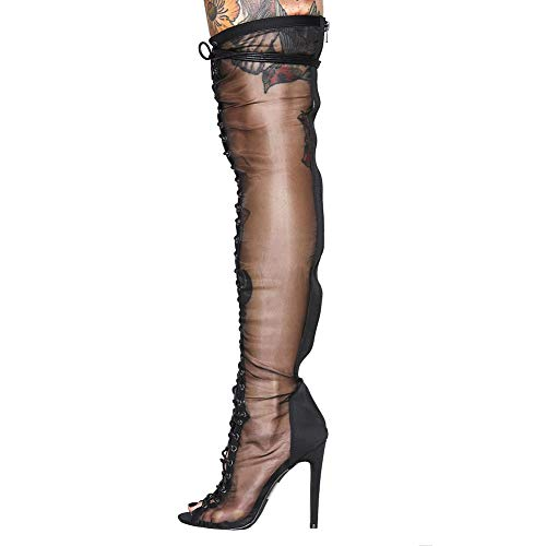 - Thigh High Stiletto Boot Peep Toe Lace Up Over The Knee High Boot Love Sweet Desire Satin Booties