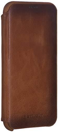 StilGut Apple iPhone Xs & iPhone X Flip Case, Slim Leather Book Type Cover with Credit Card Holder, Vintage Cognac Brown