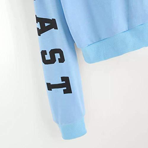 Kangrunmy Tops Imprim Blue Blouse Chemisier Longues Chemise Femme Capuche Shirt Lettres Vous Encapuchonn ArrTez Sweat A Manches Sweat Automne Chemisier Chic xBwTCRHqS
