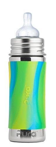 Pura Kiki 11 Oz / 325 Ml Stainless Steel Infant Bottle With Silicone Medium-flow Nipple & Sleeve, Aqua Swirl (plastic Free, Nontoxic Certified, Bpa Free)