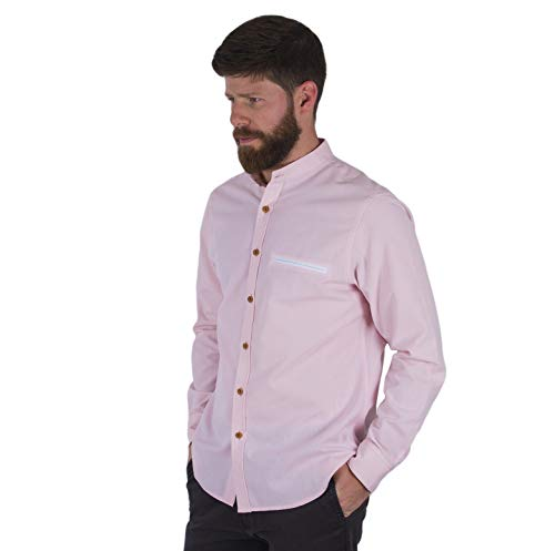(Züell - Men's Slim Fit Casual Oxford Shirt with Fashion Mandarin Banded Collar | Button Up Long Sleeve Solid (Pink, M))