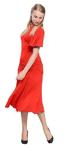 Marycrafts Womens Drop Waist Midi Dress Flapper Vintage Retro 1920s 6 Red (Drop Waist Womens Dress)