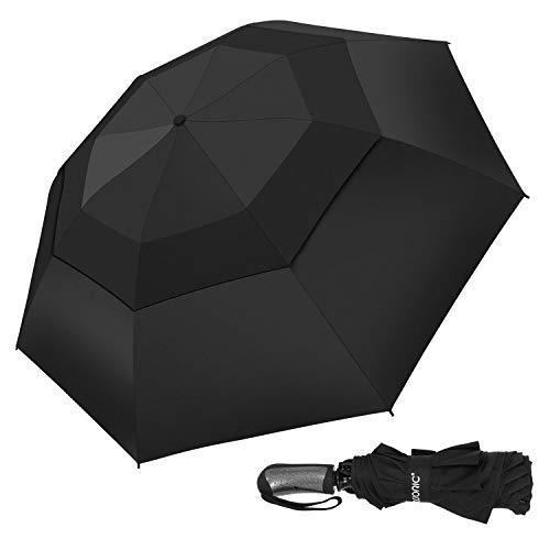 Adoric Windproof Travel Umbrella Compact Reverse Folding Umbrella with Reinforced