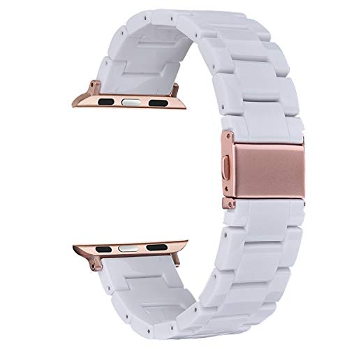 - V-MORO Resin Band Compatible with Apple Watch Band 38mm 40mm iWatch Series 4/3/2/1 with Stainless Steel Buckle Replacement Wristband Strap Women Men(White-Tone, 38mm/40mm)