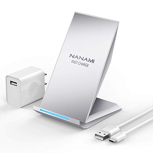 Fast Wireless Charger, NANAMI Qi Certified Wireless Charging Stand [with QC2.0 Adapter] Compatible iPhone X/XS/ XR/XS Max/8/8 Plus, Samsung Galaxy S9/S9 Plus/Note 9/S8/S8+/Note 8/S7/S7 Edge/Note5