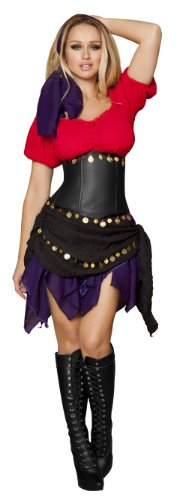 Roma Costume 5 Piece Seductive Gypsy Costume, Red/Purple, Medium
