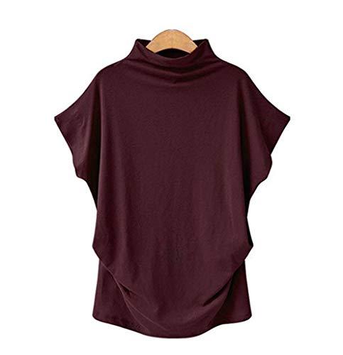 JANYN Women Turtle-Neck Bell Short Sleeve Loose Waist Style Comfy Cotton T-Shirt
