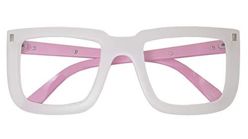 Big Square Horn Rim Eyeglasses Nerd Spectacles Clear Lens Classic Geek Glasses (WHITE PINK 18302, ()