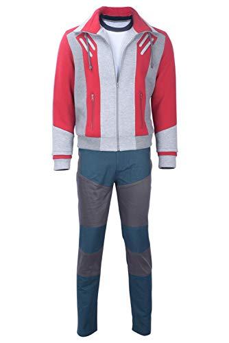 COSMOVIE Teen Beast Boy Costume Halloween Titans Cosplay Suit Sweatshirt Pants Shirt]()