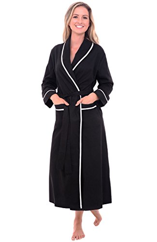 Alexander Del Rossa Womens Solid-Colored Cotton Summer Robe, Lightweight House Coat for Her