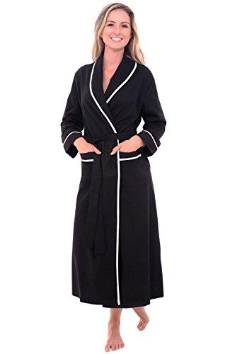 Alexander Del Rossa Womens Cotton Robe, Lightweight Woven Bathrobe, Large Black (A0515BLKLG) (Nursing Coat Cotton)