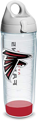 Tervis 1104649 NFL Atlanta Falcons Wrap Individual Water Bottle with Gray lid, 24 oz, Clear