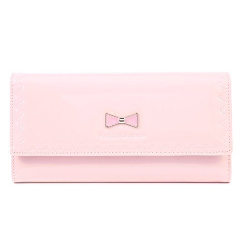 (Damara Women's Trifold Bow Wallet Patent Leather Snap Purse,Pink)