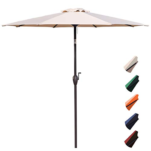RUBEDER 9' Patio Umbrella Outdoor Market Table Umbrella with 8 Sturdy Ribs,Wing Vent,Push Button Tilt & Crank (9 Ft, Beige - Umbrella Outdoor