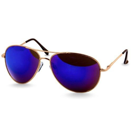Bleu charnières à soleil SG013 Unisexe avec Caspar Doré Rétro Miroir ressort de Lunettes g7waqT1