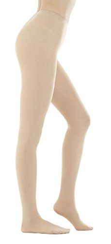 (STYLEGAGA Women's 80 Denier Semi Opaque Solid Color Footed Pantyhose Tights 2Pair (S/M, Skin Beige))
