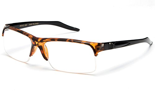 Newbee Fashion - Unisex Slim Fit Half Frame Clear Lens Glasses Tortoise