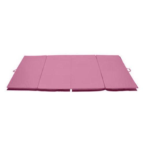 Soozier PU Leather Gymnastics Tumbling/Martial Arts Folding Mat, Pink, 4 x 8′ x 2″