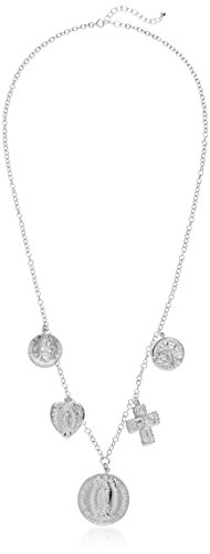 Dogeared Peace, Love, and Protection Multi Charm Saints Chain Necklace, Sterling Silver, 22