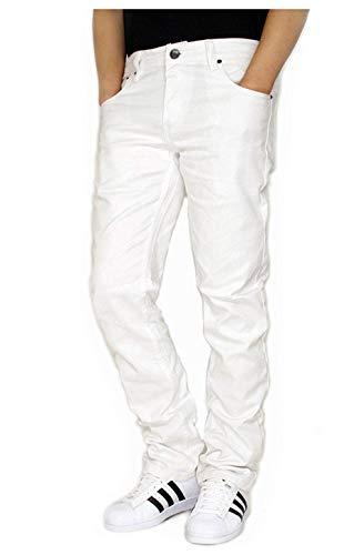 Blue Bay Industries Mens Skinny Twill Jeans Slim Fit Leg 5 Pockets Zipper Fly Jeans White 34x32