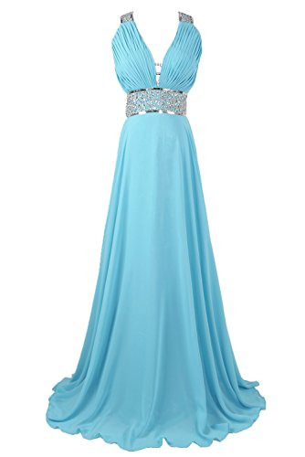 Sunvary Sexy Woman V Neck Chiffon Prom Party Dresses Long