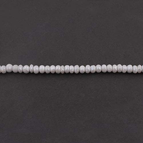 Beads Bazar Natural Beautiful jewellery Big Halloween 1 Strand Natural Silverite Corundum Faceted Rondelles - White Sapphire Roundel Beads 8mm 13 Inches SB3080Code:- NY-9964