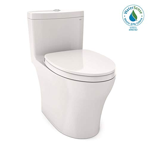 TOTO MS646124CEMFG#11 Aquia IV One-Piece Elongated Dual Flush 1.28 and 0.8 GPF Universal Height, WASHLET+ Ready Toilet with CEFIONTECT, White-MS646124CEMFG, Colonial White