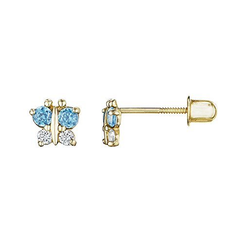 Childrens Butterfly Earrings (14kt Solid Gold Kids Butterfly Stud Screwback Earrings - Blue Topaz)