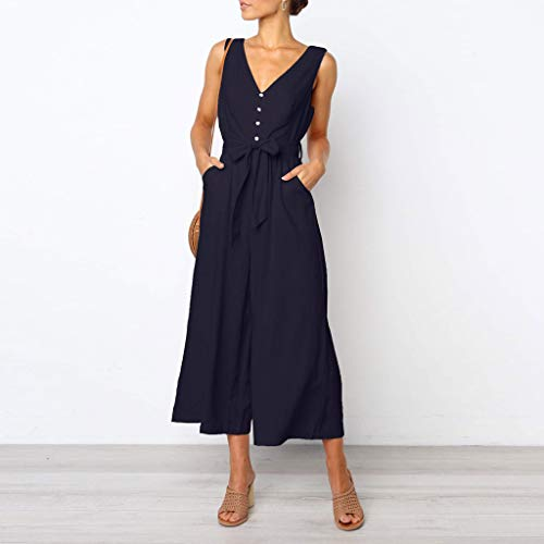 Pervobs Women Sleeveless V-Neck Backless Solid Button High Waisted Wide Leg Jumpsuit Casual Loose Beach Playsuits(XL, Navy) by Pervobs Women Pants (Image #2)