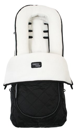 (Valco Baby Universal Fit Deluxe Foot Muff Fleece, White/Black)