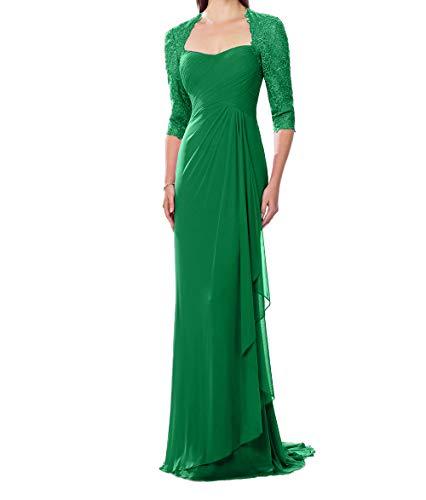 Festlichkleider Grün Langarm Chiffon Abendkleider Spitze Charmant mit Mutterkleider Promkleider Damen XZzw8qWv