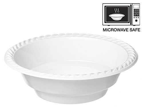 Propack 18 Ounce Disposable Bowls Microwave Safe 50 Count White Pack of 2 (100 Bowls Total)