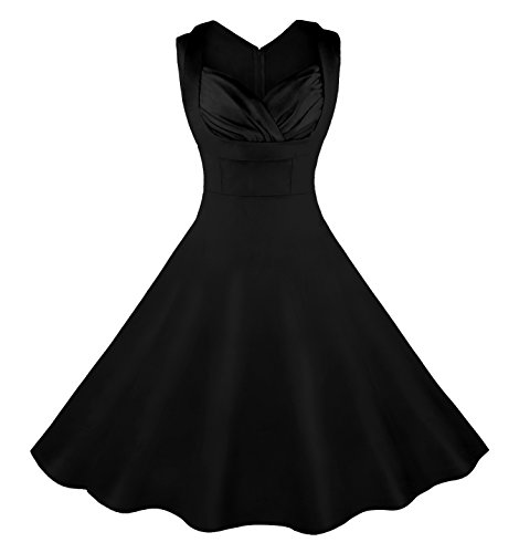 Dress 1960 (Killreal Women's 1950's Cut Out V-Neck Vintage Casual Party Cocktail Swing Dress Plus Size Black Medium)