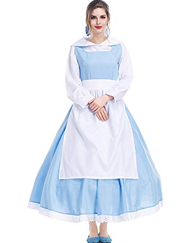 Colorful House Women's Cosplay Outfit Blue Dress Maid Fancy Dress Costume (Medium, Blue (Style 2))